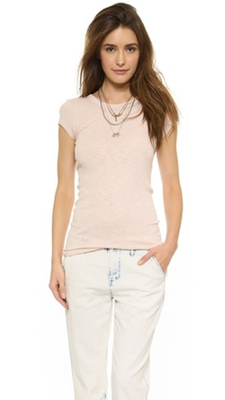 Slub Rib Cap Sleeve Tee Shirt by Enza Costa in We Are Your Friends