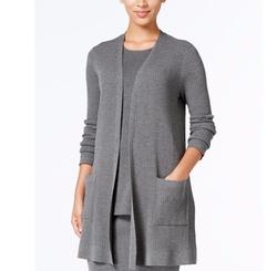 Ribbed Open-Front Cardigan by Eileen Fisher in The Boss