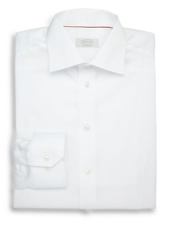 Contemporary-Fit Solid Dress Shirt by Eton of Sweden in Self/Less