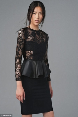 Black Lace Dress With Leather Peplum Frill by Zara in Addicted