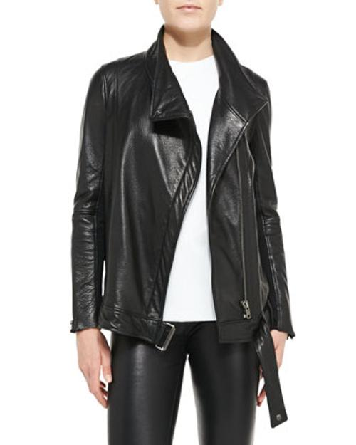 Cluster Oversized Leather Moto Jacket by Helmut Lang in Beyond the Lights