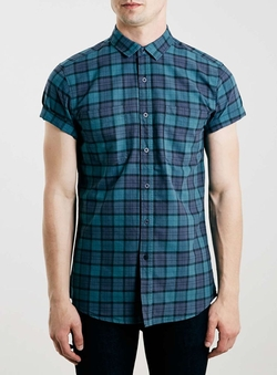 Green Tartan Short Sleeve Casual Shirt by Topman in Pretty Little Liars