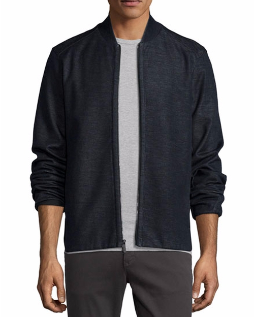 Heathered Knit Bomber Jacket by Good Man Brand in Creed