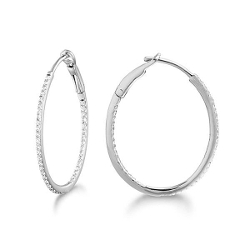 Micro Pave Small Oval Diamond Hoop Earrings by Shop.com in Before I Wake