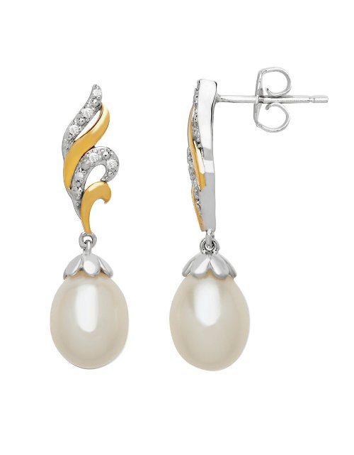 Pearl and Diamond Drop Earrings by Lord & Taylor in While We're Young
