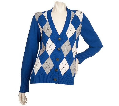 Argyle Button Front Cardigan by Denim Co in (500) Days of Summer
