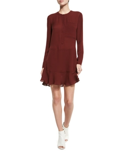Montana Long-Sleeve Silk Flounce Dress by A.L.C. in Arrow