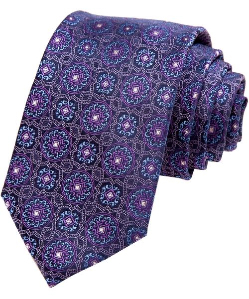 Modern Width Purple Vine Medallion Silk Tie by Alara in Our Brand Is Crisis