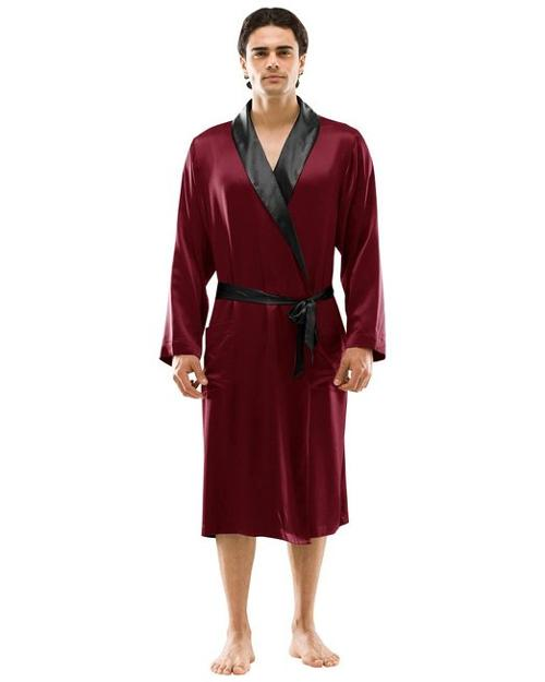 Men's Trim Knee-length Silk Robe by Narasilk in Couple's Retreat