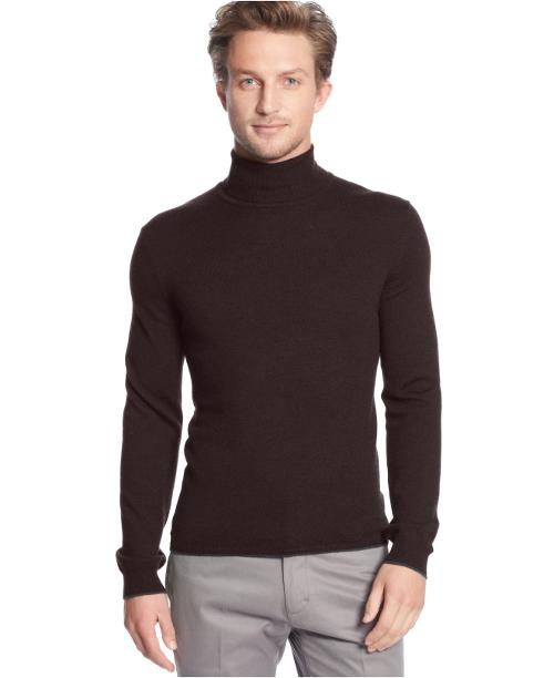 Solid Tipped Merino Wool Turtleneck Sweater by Calvin Klein in Anchorman 2: The Legend Continues