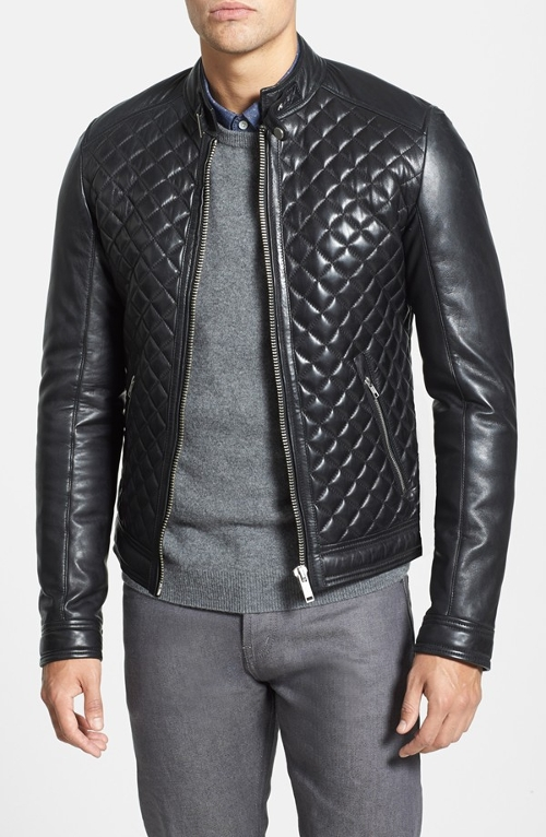 Quilted Lambskin Leather Moto Jacket by LaMarque in The D Train