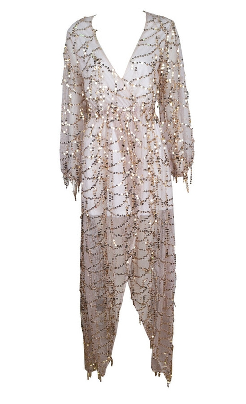 Gold Sparkle Sequined Fringed V-Neck Maxi Dress by Outletpad in Keeping Up With The Kardashians - Season 11 Episode 6