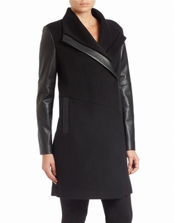 Faux Leather-Trimmed Coat by Vera Wang in The Flash