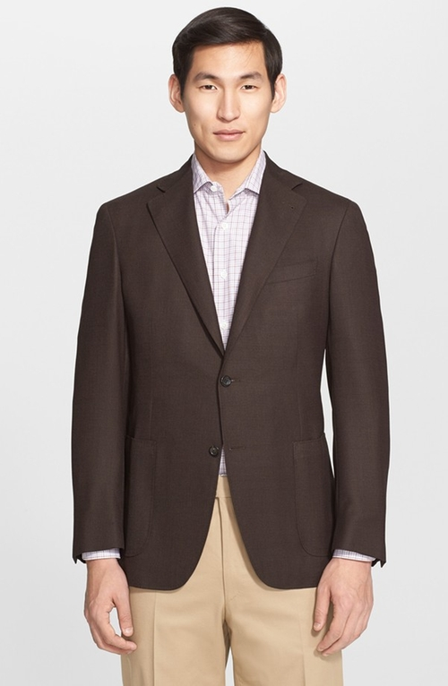 Classic Fit Solid Wool Blazer by Canali in Spy