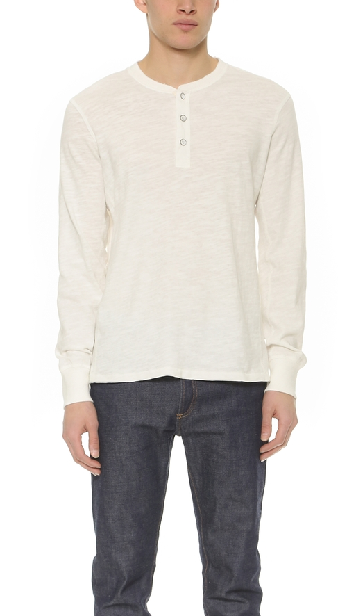 Basic Henley Shirt by Rag & Bone Standard Issue in Sleeping with Other People