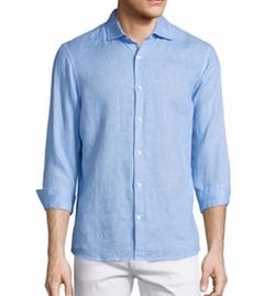 Linen Long-Sleeve Sport Shirt by Michael Kors in Rosewood