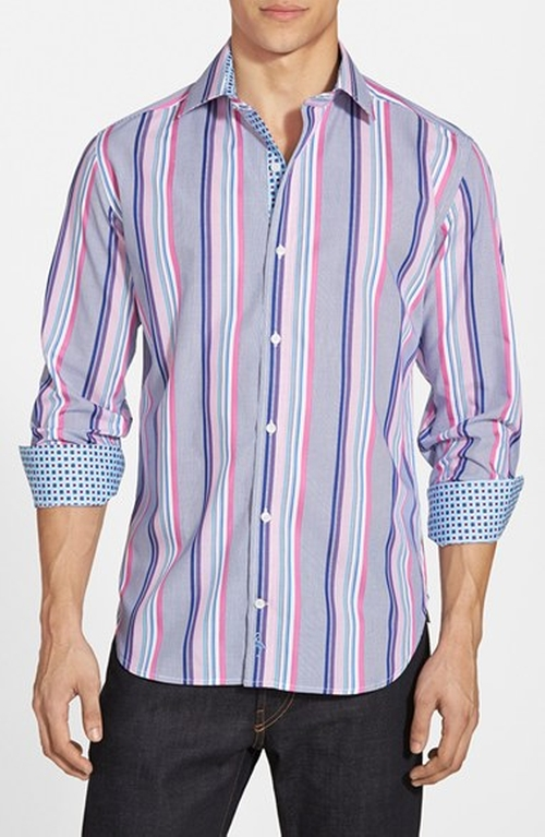'Los Roques' Regular Fit Stripe Sport Shirt by TailorByrd in Black-ish - Season 2 Episode 7