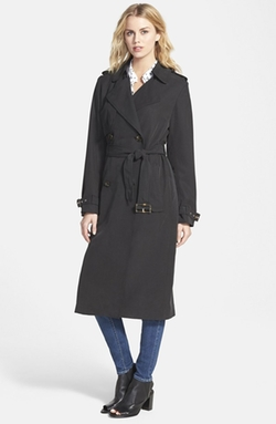 Double Breasted Long Trench Coat by Vera Wang in Spy