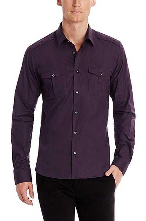 Stretch Cotton Button Down Shirt by Hugo in While We're Young