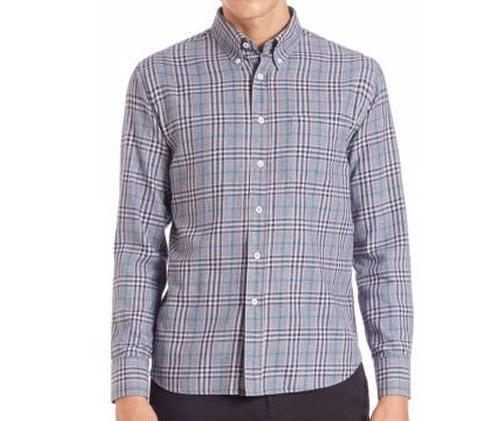 Plaid Button-Up Shirt by Billy Reid in Scream Queens