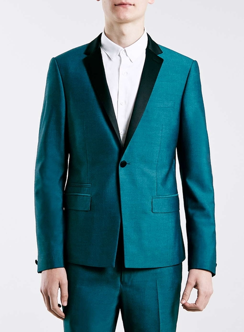 Teal Skinny Fit Tux Jacket by Topman in Pretty Little Liars - Season 6 Episode 16