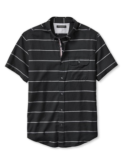 Slim-Fit Bold Stripe Short-Sleeve Shirt by Banana Republic in Straight Outta Compton