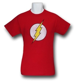 Flash Distressed Symbol T-Shirt by SuperHeroStuff in The Big Bang Theory