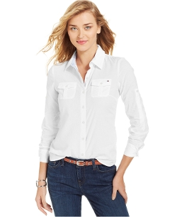 Long-Sleeve Contrast-Trim Button-Down Shirt by Tommy Hilfiger in Ex Machina