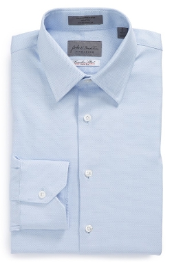 Traditional Fit Solid Dress Shirt by John W Nordstrom Signature in Southpaw