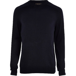 Navy Raglan Sleeve Sweater by River Island in 99 Homes