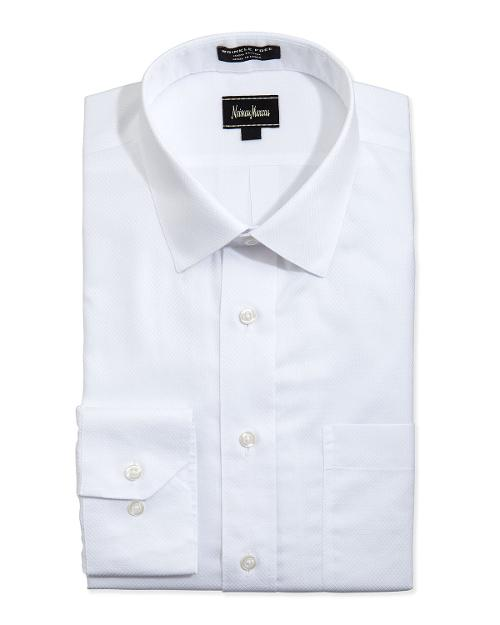 Non-Iron Classic-Fit Textured Dress Shirt by Neiman Marcus in Anchorman 2: The Legend Continues