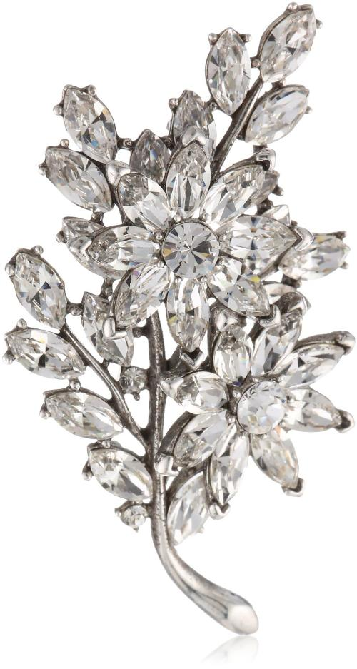 Crystal Floral Motif Brooch by Ben-Amun Jewelry in Get On Up