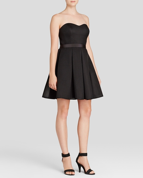 Strapless Bonded Mesh Fit And Flare Dress by Aqua in Pretty Little Liars - Season 6 Episode 10