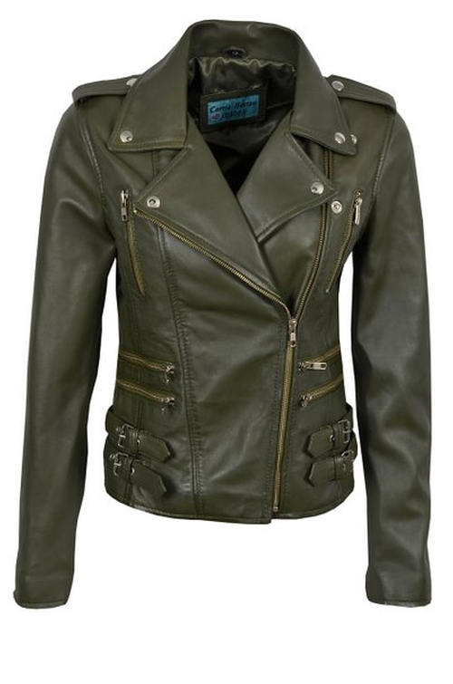Women's Motorcycle Designer Leather Jacket by Smart Range in Daddy's Home