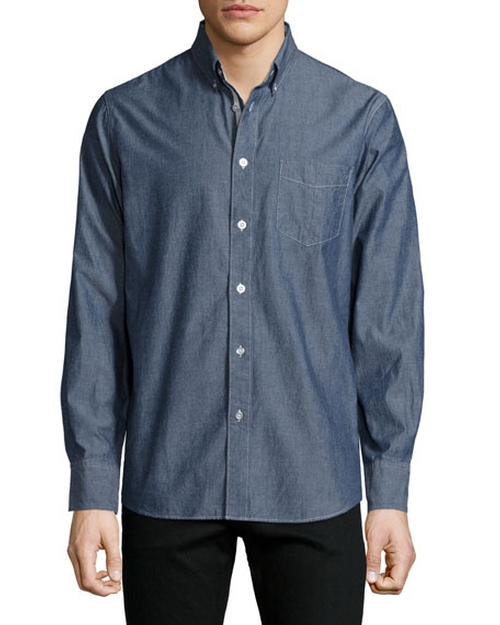 Standard Issue Chambray Button-Down Shirt by Rag & Bone in Mad Dogs -  Looks