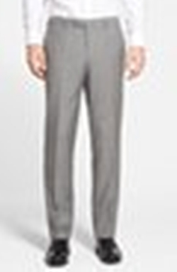 'Sharp' Flat Front Solid Wool Trousers by BOSS in Ballers