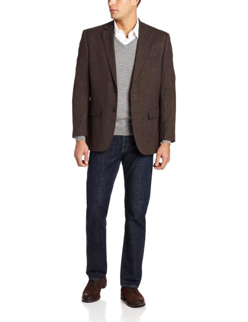 Men's 2 Button Side Vent Corey Donegal Sport Coat, Brown by Jones New York in Jersey Boys