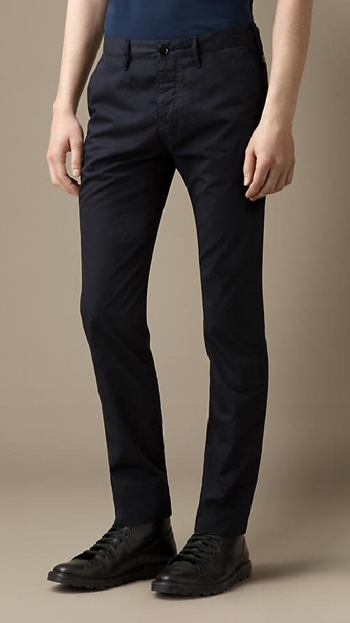 Slim Fit Cotton Twill Chinos by Burbery in Neighbors