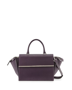 East-West Leather Satchel Bag by Costume National in Empire