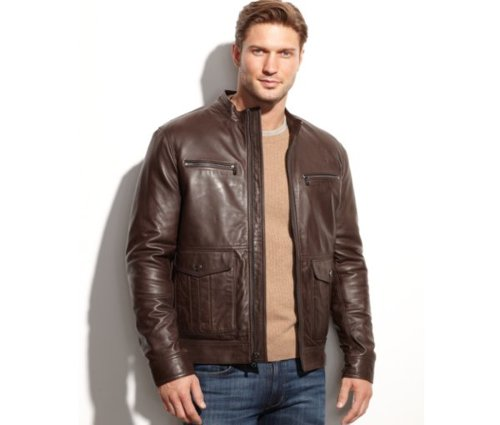 Woodland Four-Pocket Leather Jacket by Michael Kors in Kick-Ass