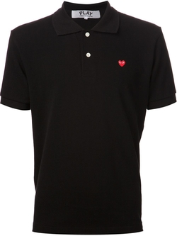 Embroidered Heart Polo Shirt by Comme Des Garçons Play in The Program