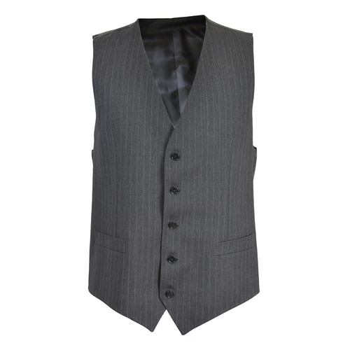 Wool Gray Striped Button Down Vest by Dolce & Gabbana in Bridge of Spies
