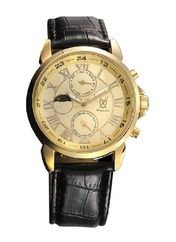Gold Tone Black Leather Strap Watch by Konigswerk in Straight Outta Compton