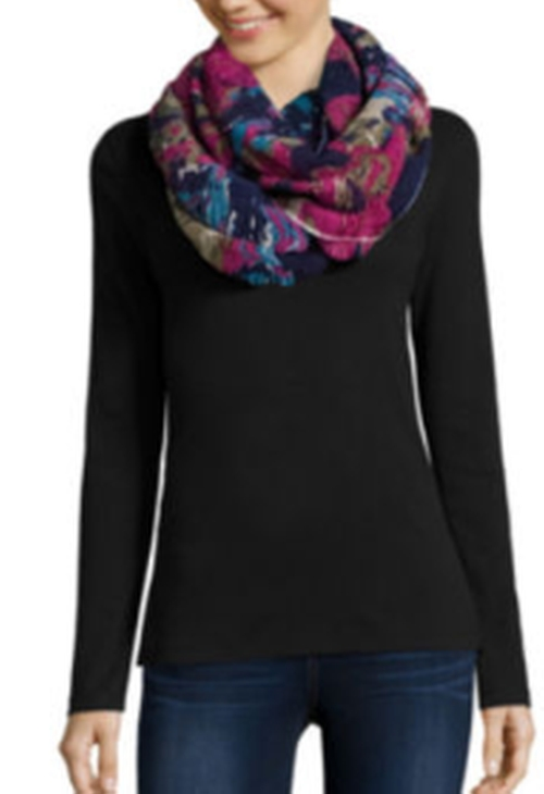 Floral Ruched Infinity Scarf by Mixit in The Boss