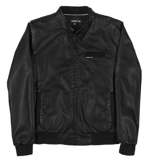 Men's Faux Leather Racer Jacket by Members Only in Chronicle
