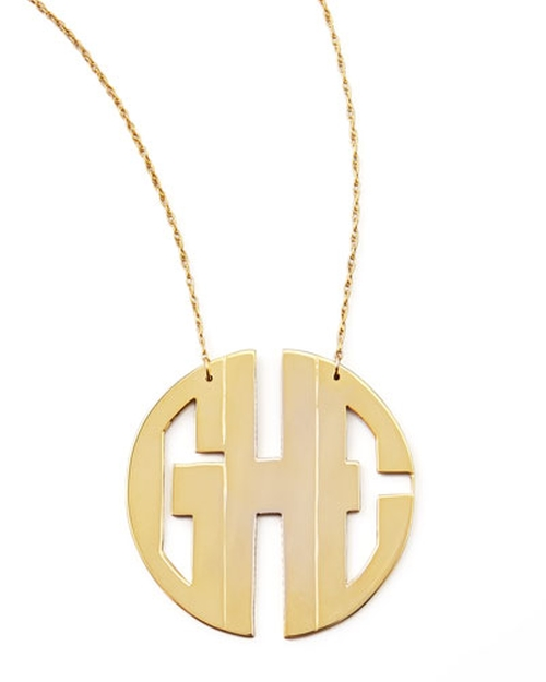 Monogram Large Golden Block Pendant Necklace by Moon And Lola in Scream Queens - Season 1 Episode 2
