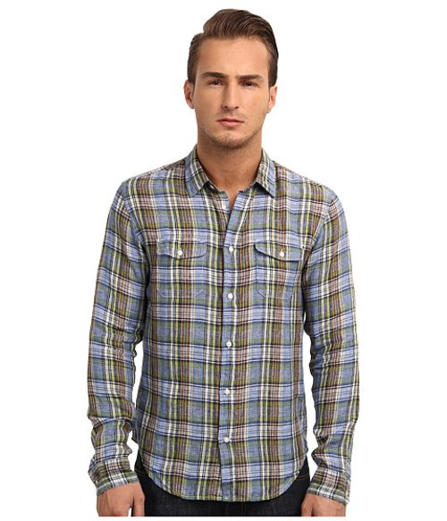 Tri-Color Plaid Button-Up Shirt by Vince in That Awkward Moment