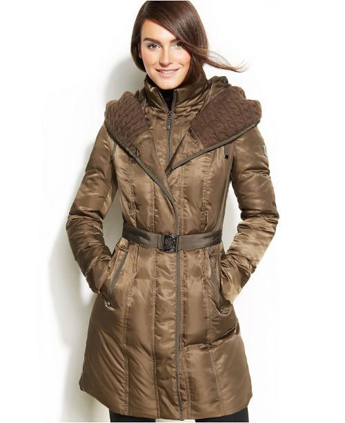 Hooded Belted Down Puffer Coat by Vince Camuto in New Year's Eve