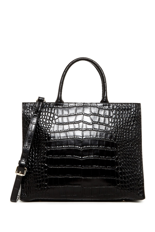 Croco Embossed Leather Tote Bag by Christian Lacroix Paris in Supergirl - Season 1 Episode 2