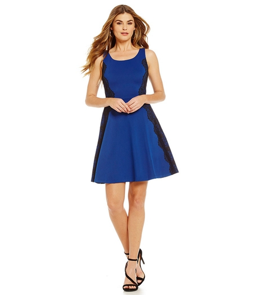Lace & Ponte Fit-and-Flare Dress by Jessica Simpson in Crazy, Stupid, Love.